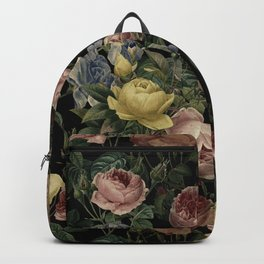 Vintage Roses and Iris Pattern - Dark Dreams Backpack