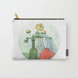 Still life with Buttercup and glass bottles Carry-All Pouch