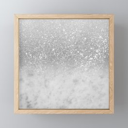White Marble Silver Ombre Glitter Glam #1 #shiny #gem #decor #art #society6 Framed Mini Art Print