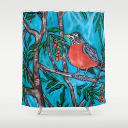 Robin Redbreast in the Mountain Ash Shower Curtain