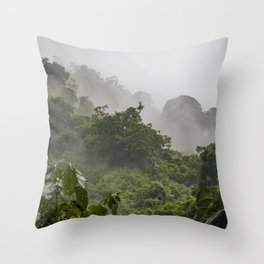 Mist and Clouds Blowing through the Jungle of the Chocoyero-El Brujo Nature Reserve in Nicaragua Throw Pillow