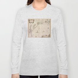 Vintage Map of New Netherland (1672) Long Sleeve T-shirt