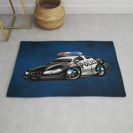 Police Muscle Car Cartoon Illustration Rug