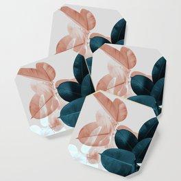 Blush & Blue Leaves Coaster