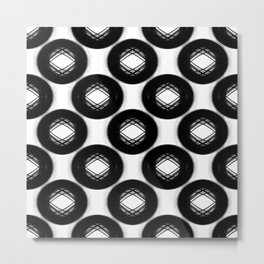 Abstract Cycle Pattern No.1 Black and White Metal Print