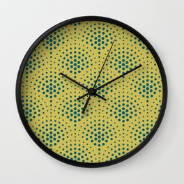 Tropical Dark Teal Polka Dot Scallop Pattern Inspired by Sherwin Williams 2020 Trending Color Oceanside SW6496 on Dark Yellow Wall Clock