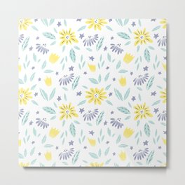 teal, grey flora and yellow flowers Metal Print