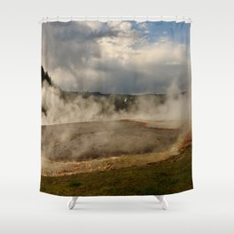 A Cloud Of Steam And Water Over A Geyser Shower Curtain