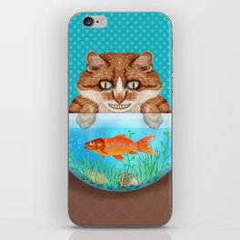Cat with Goldfish Bowl Whimsical Kitty and Fish iPhone Skin