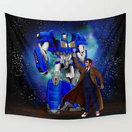 10th Doctor who with Giant retro Robot Phone Box Wall Tapestry