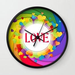 Rainbow Spiral Love Hearts Wall Clock