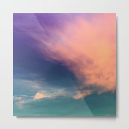 Dramatic Sunset Sky - pink purple and aqua cloudscape Metal Print