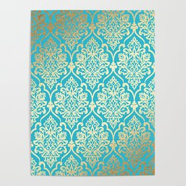 Teal Gold Mermaid Damask Pattern Poster