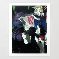 evangelion Art Prints featuring Evangelion Wing by JLEEORIGINALS