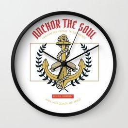 Sailor Anchor Dew Ocean Vintage Retro T-Shirt - Design Illustration Print Artwork Gift Idea Tee Wall Clock