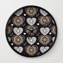 Rose-Gold, Silver, and Black Mandala Hearts with Love Wall Clock