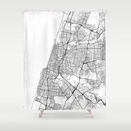 Tel Aviv Map White Shower Curtain