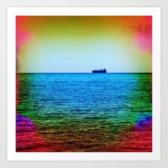 Cargo Ship on the Horizon Art Print