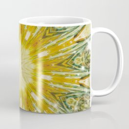 Green and Yellow with Sparkles Kaleidoscope Mandala Retro Abstract Coffee Mug
