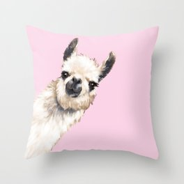 Sneaky Llama Throw Pillow