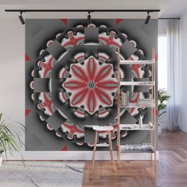Floral pattern mandala in red, black and grey tones Wall Mural