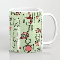 sports Mugs featuring les sports by Estelle F