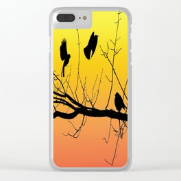 Sunset Birds Infight Clear iPhone Case
