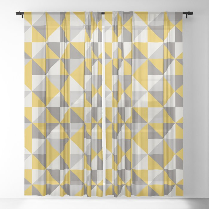 Retro Triangle Pattern in Yellow and Grey Sheer Curtain by ...