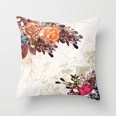 Vintage rose garden Throw Pillow