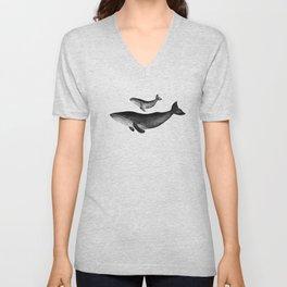 Whales, black and white Unisex V-Neck
