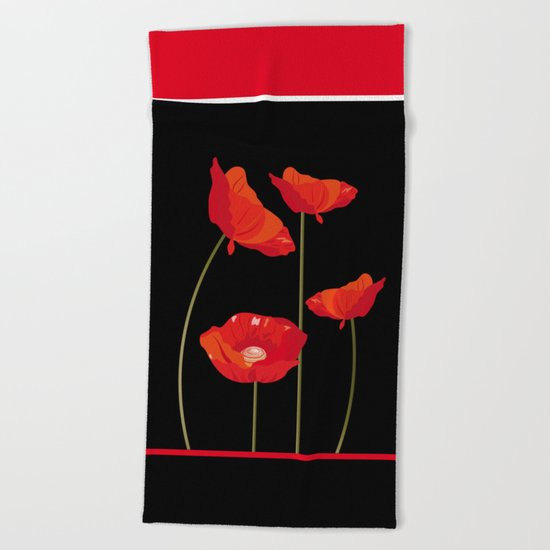 Flaming Poppies Beach Towel
