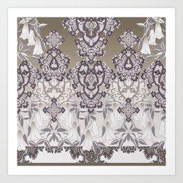 tonal grand paisley mix with florals Art Print