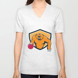 Grizzly Bear Angry Dribbling Basketball Shield Cartoon Unisex V-Neck