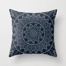 Blue Textured Lace Mandala Throw Pillow