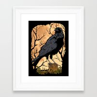 crow Framed Art Prints featuring Crow by Murat Sünger