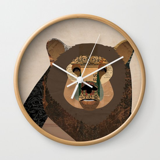 Bear Collage Wall Clock