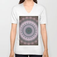 boho V-neck T-shirts featuring Boho Pink by Jane Lacey Smith