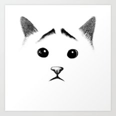 Cat with eyebrows Art Print