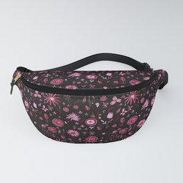 Pink and black floral with wild roses Fanny Pack