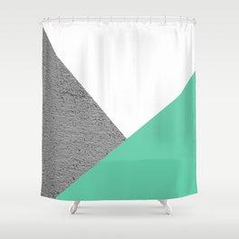 Concrete vs Aquamarine Geometry Shower Curtain