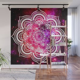 Galaxy Mandala Red Fuchsia Purple Pink Wall Mural