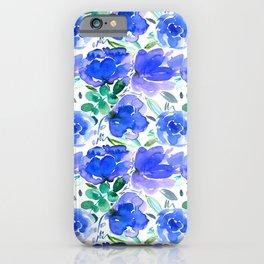 Big Blue Watercolour Painted Floral Pattern iPhone Case