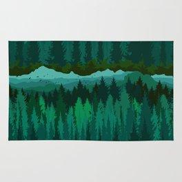 PNW Mountain Landscape in Emerald Green Rug