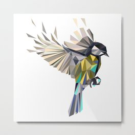 Flying Songbird Cyanistes Caeruleus Blue Tit Bird Metal Print