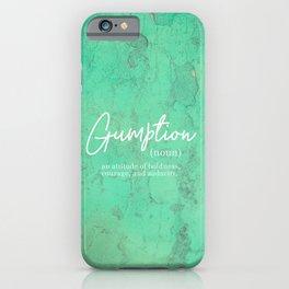 Gumption Definition - Word Nerd - Turquoise Texture iPhone Case