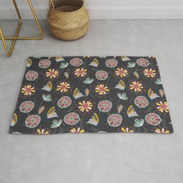 delicate flowers dark Rug