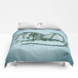 """Material Girl"" by Amber Marine ~ (Sea Mist Version) Graphite Dragon Illustration, (Copyright 2005) Comforters"
