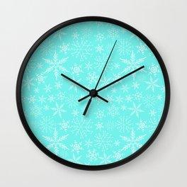 Mint Blue Snowflakes Wall Clock