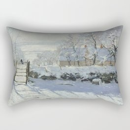Monet, The Magpie (La Pie) (Die Elster) 1868-1869 Rectangular Pillow