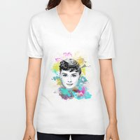 audrey V-neck T-shirts featuring Audrey by Featured Interiors